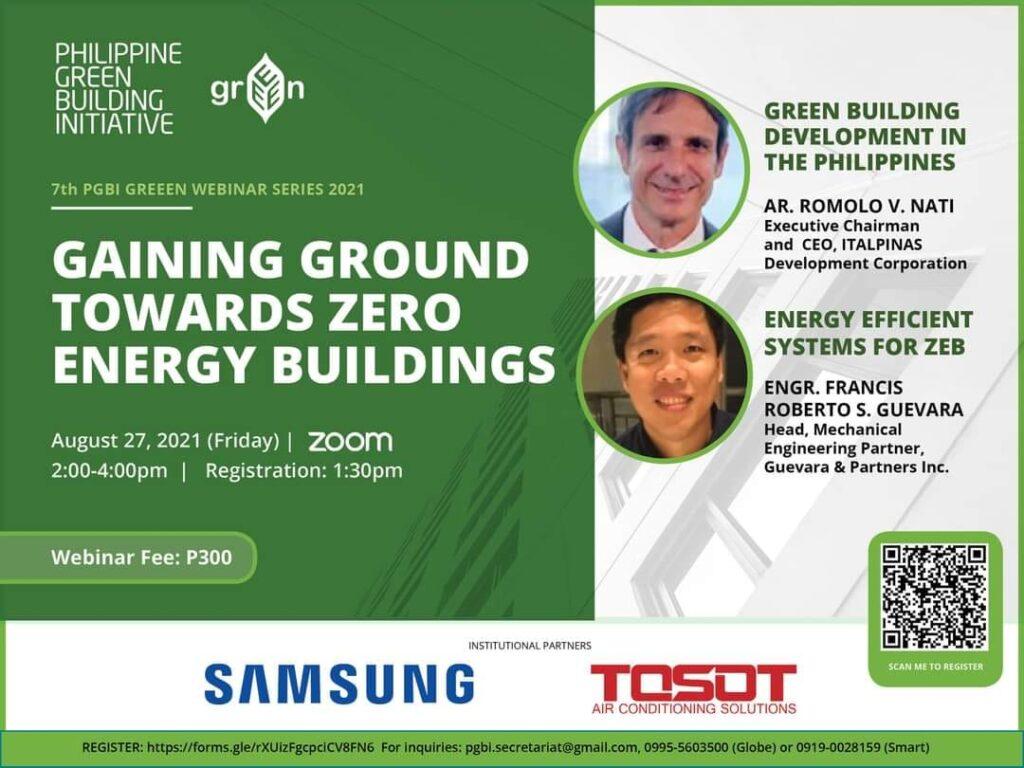 The 7th PGBI Webinar Series: GAINING GROUND TOWARDS ZERO ENERGY BUILDINGS